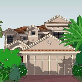 现代欧式田园木屋别墅建筑模型