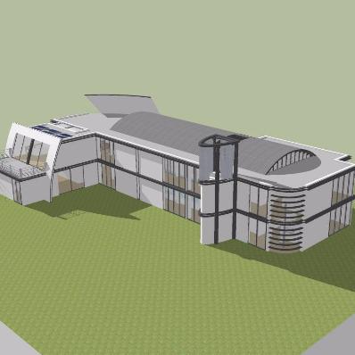 现代展览馆模型设计