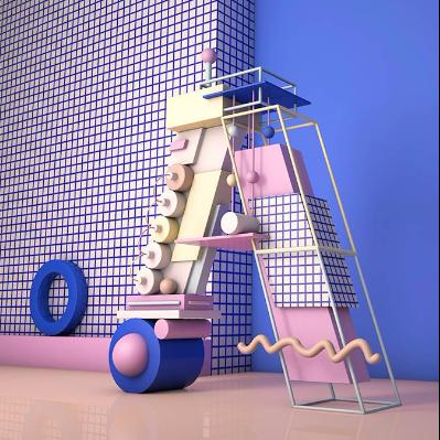 积木质感3D立体字母