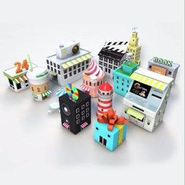 低面体卡通建筑模型