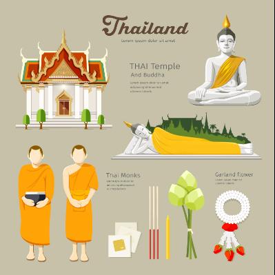 扁平化泰国建筑雕像