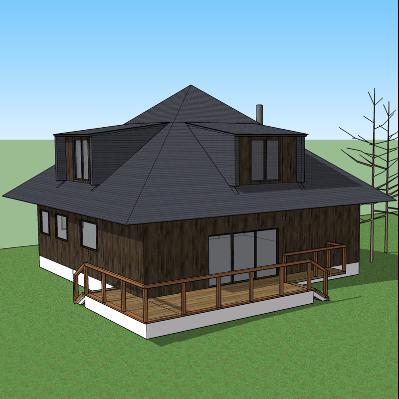 公园房屋景观模型