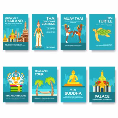 扁平化泰国明信片