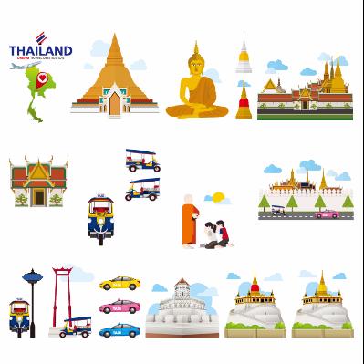扁平化泰国特色旅游景点