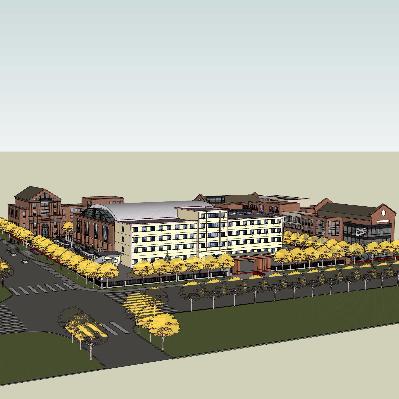 小区建筑草图大师模型