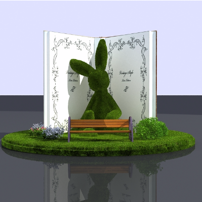绿植兔子春夏季美陈图片