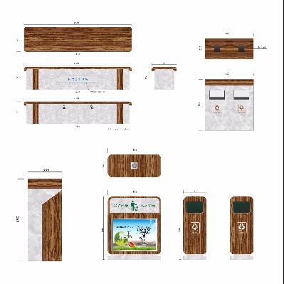 休闲座椅果皮箱设计方案