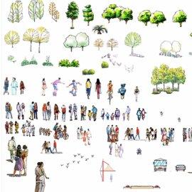 PS景观手绘人物素材