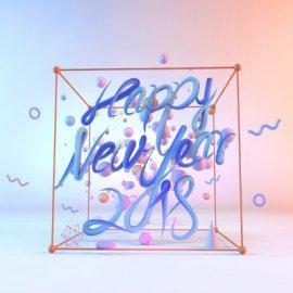 蓝色ins风格新年背景设计