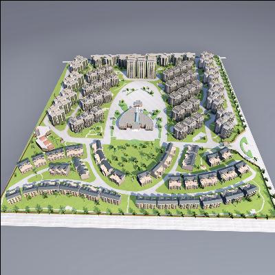 完整场景 高档小区 商场幼儿园 别墅区 地形小区模型