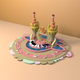 卡通可爱城堡模型