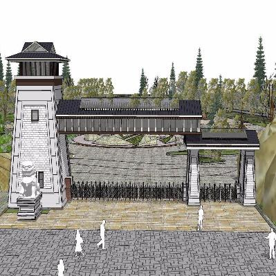 景区大门入口 古建筑模型 狮子 公园