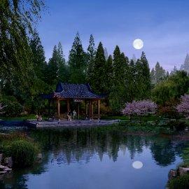 景观湖泊夜景PSD分层素材