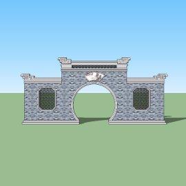 新中式景墙月洞门