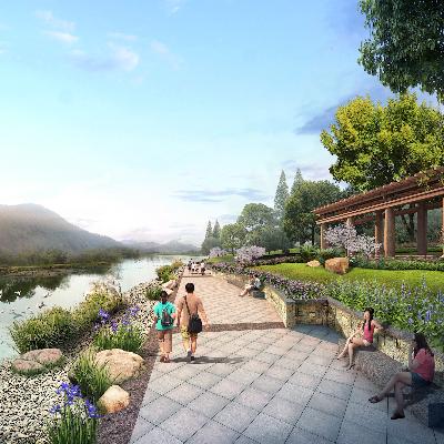 河畔公园景观规划PSD分层素材