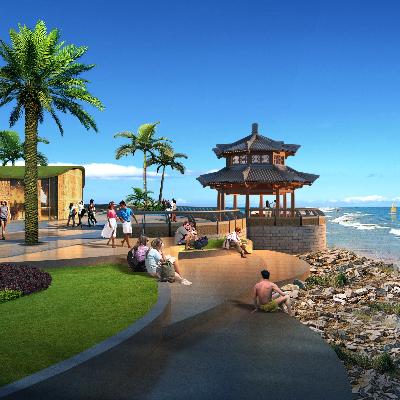 海边凉亭景观PSD分层素材