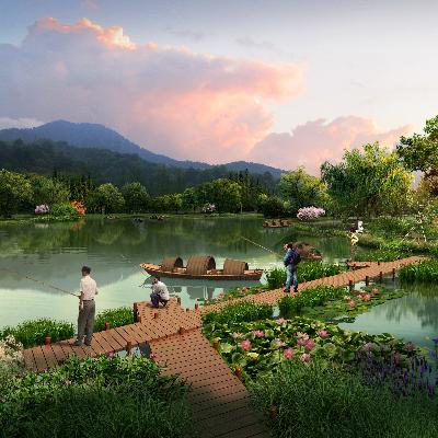 钓鱼湖景观PSD分层素材