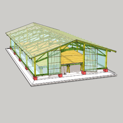 竹棚温室su模型