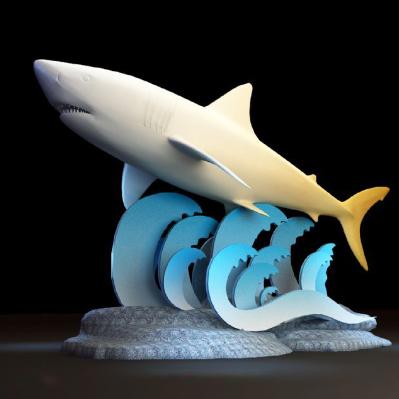鲨鱼海浪雕塑