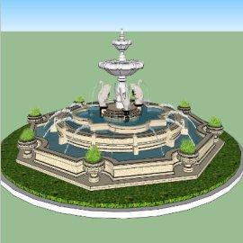 动物雕像喷泉