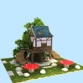 春季夏季美陈中庭点位树屋