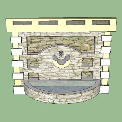 公园喷泉墙