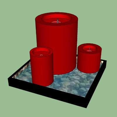 红色圆形喷泉
