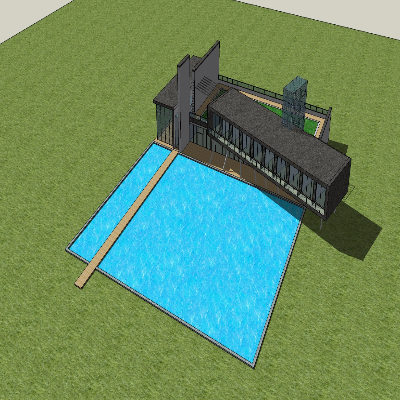 草坪式温泉景观