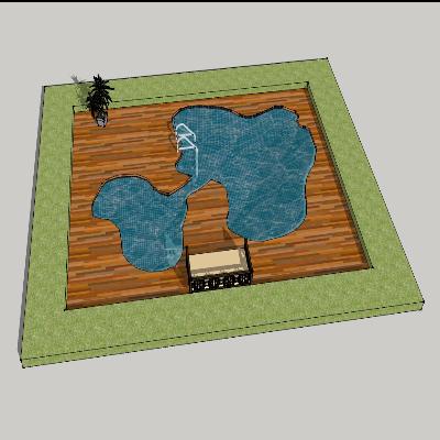 方形温泉景观
