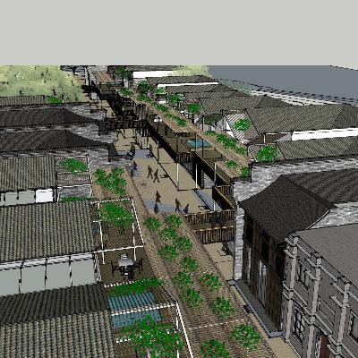 复古步行街模型设计及其细节展示