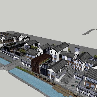 中式商业街方案及其模型展示
