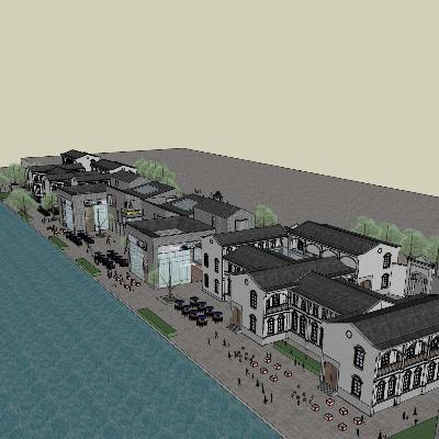 中式滨江商业街模型及其细节展示