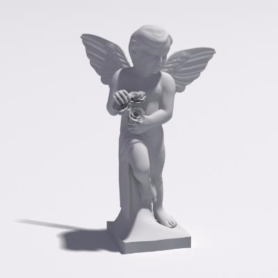 可爱白色天使雕塑