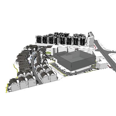 中式复古步行街规划模型