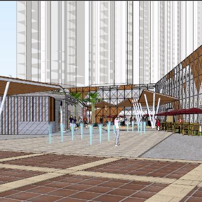 现代风格商业街改造建筑设计su模型