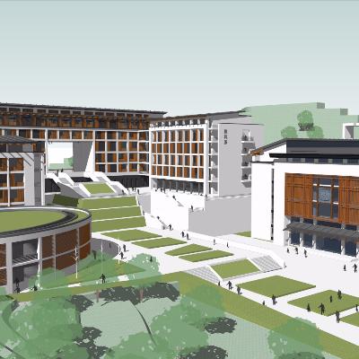 某现代中式风格山地高校建筑设计su模型
