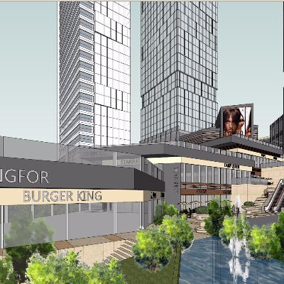 山地城市商业办公综合体su模型