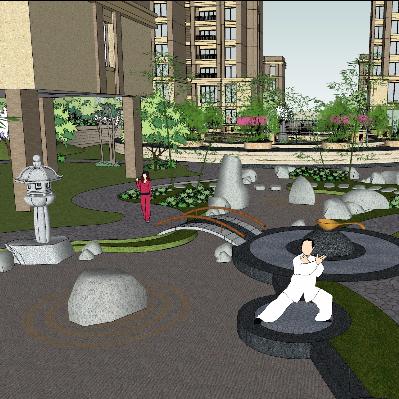 现代风格小区景观sketchUp模型