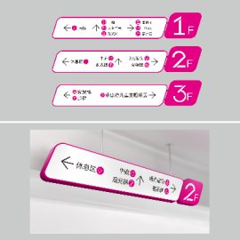 商场粉色系时尚导视牌设计
