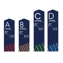 学校落地式分流标识牌设计