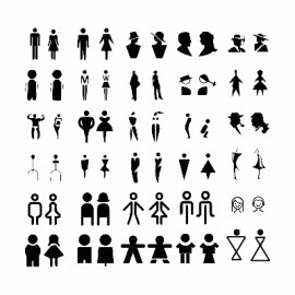 多风格卫生间男女图标素材合集