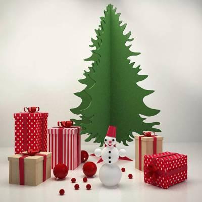 圣诞节美陈礼物堆