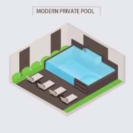 室内游泳池插画