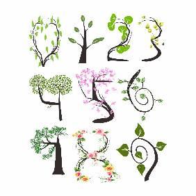 创意树叶数字设计矢量