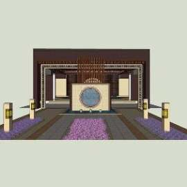 新中式景观设计精细模型