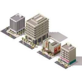 大厦马路3D扁平化创意设计