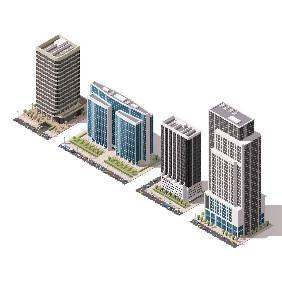 3D扁平化城市建筑创意设计