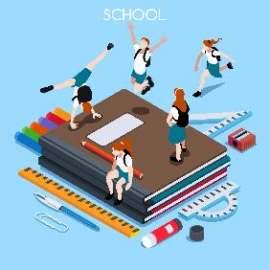 扁平化学校教育元素插画