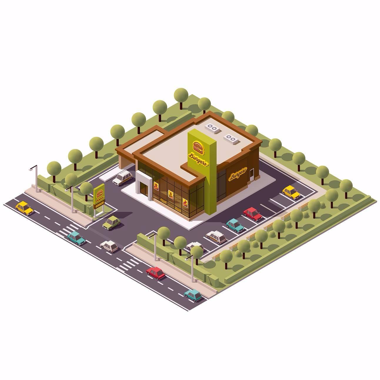 汉堡店3D扁平化创意设计