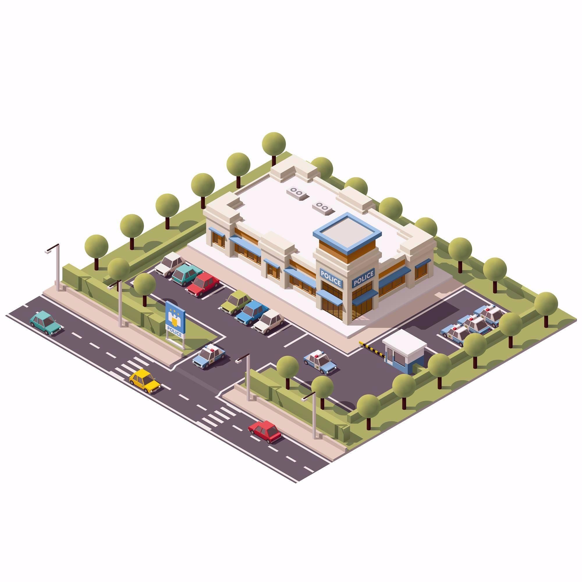 警察局3D扁平化创意设计